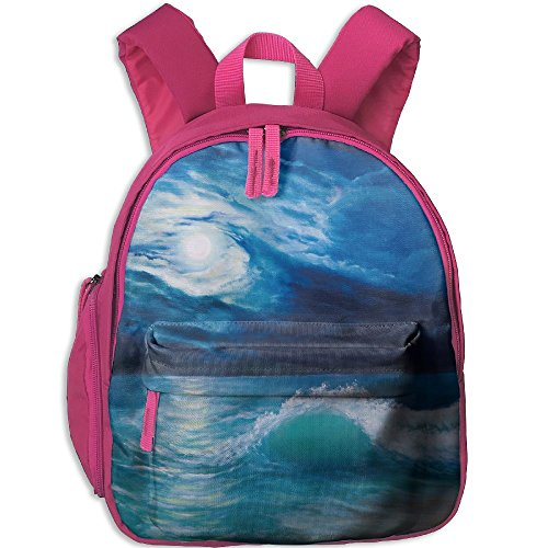 SarahKen Ocean Moonlight Over Wavy Sea Dramatic Sky Beach Landscape Kids School Backpack Pink 12.5