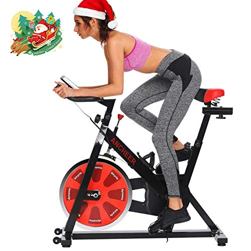 ANCHEER Indoor Cycling Bike Stationary, Belt Drive Exercise Bike with Comfortable Seat Cushion, Workout Bikes with Magnetic Resistance and LCD Monitor for Home Exercise (Red)