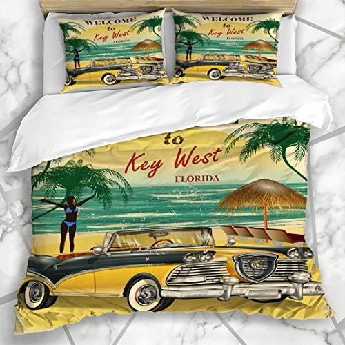 Ahawoso Duvet Cover Sets King 90x104 Touristic Vintage Welcome Key West Florida Retro Sports Touristy Recreation Beach Car 50S Travel Microfiber Bedding with 2 Pillow Shams