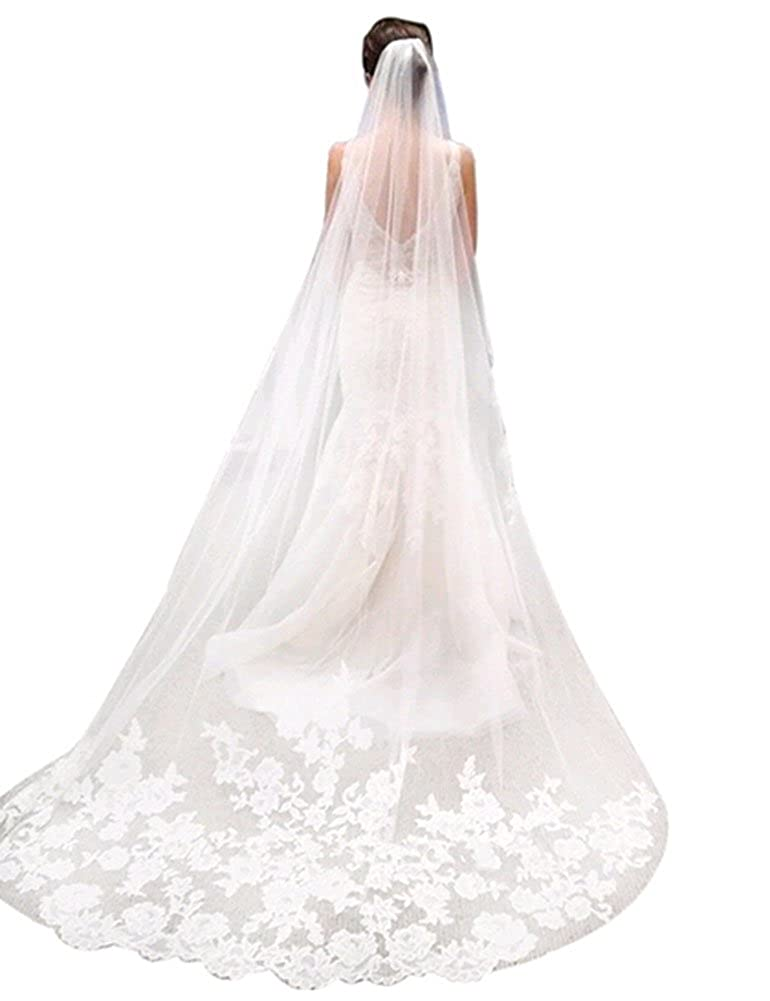 1 Layer White Ivory Cathedral Length Lace Edge Bride Wedding Bridal Veil with Comb Barnang-63hpB