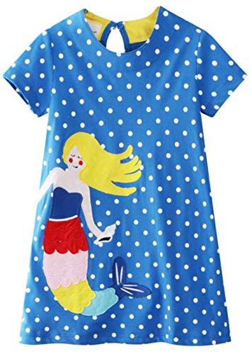 Little Girl Dresss Mermaid Spring Summer Short Sleeve Casual Applique Cartoon Tunic Dress (Cartoon Pattern Casual)