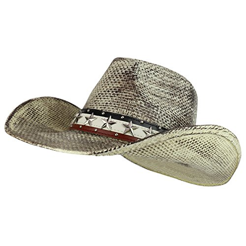 - Armycrew Fine Toyo Western Cowboy Cowgirl Hat with White Black Stain - White Black