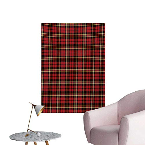 ParadiseDecor Checkered Wallpaper Scottish British Celtic Culture Traditional Design in Classical ColorsRed Black Yellow W32 xL48 Space Poster ()