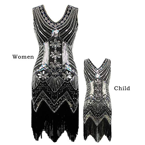 AMJM Parent-Child's 1920s Gastby Sequin Art Nouveau Embellished Fringed Flapper Dress (110, Silver) -