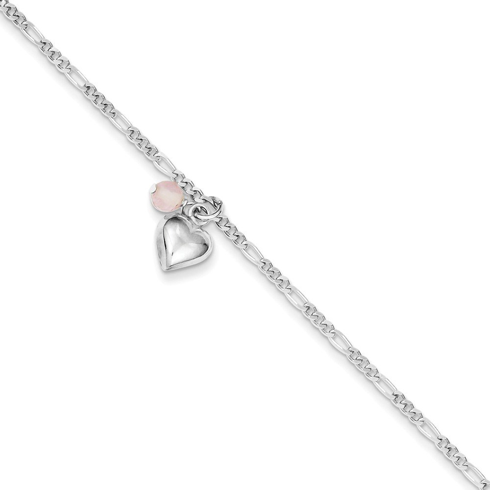 Sterling Silver Cherry Quartz /& Dangling Hearts on Figaro Link Anklet 9 Inch