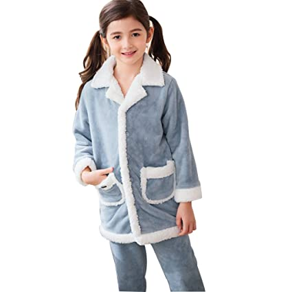 a810fe8d83345 Amazon.com: Pajama Girl Winter Warm Thick Blue Set Comfortable Girl Home  Clothing (Color : Blue, Size : 110cm): Home & Kitchen