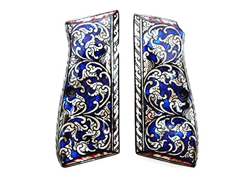 Mother of Pearl Inlay Browning Hi Power 9mm Gun Grips Blue Flower