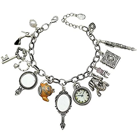 Silver Plated Q&Q Fashion Vintage Fairytale Charms Cinderella Alice in Wonderland Narnia Style Looking Glass Chain Bangle - Alice & Olivia Silk Blouse