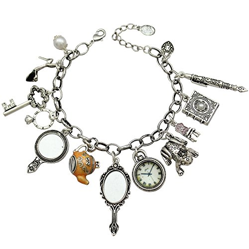 Silver Plated Q&Q Fashion Vintage Fairytale Charms Alice in Wonderland Style Frog Mirror Tea Party Chain Girl Cuff Bangle Bracelet from Q&Q Fashion