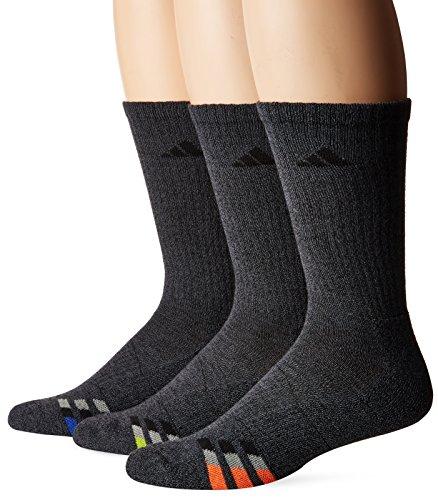 adidas Men's Cushioned Crew Socks (3-Pack), Orange/Light Onix, Size 6-12