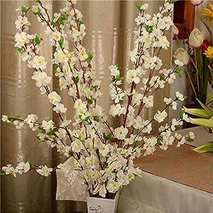 Geminilee Artificial Cherry Spring Plum Peach Blossom Branch Silk Flower Home Wedding Decorative Flowers Plastic Peach Bouquet 65cm,White 3