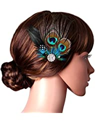 babeyond peacock feather hair clip flower pin with