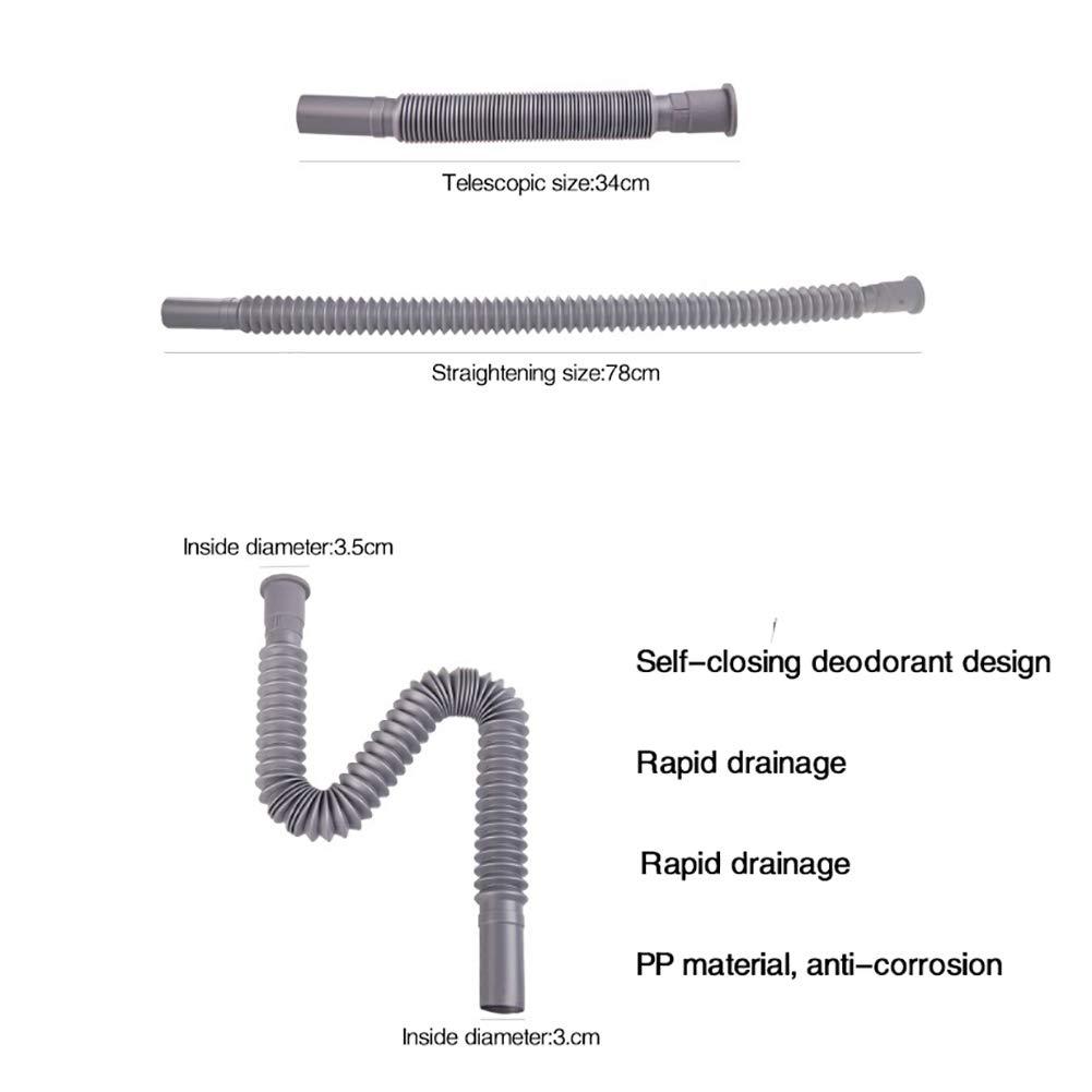 Tubo de desag/üe para lavadora de cocina SDGDFXCHN manguera de agua alargada 80 cm gris