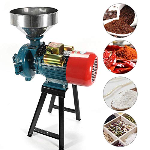 SLSY Electric Grain Mill Grinder Heavy Duty 3000W, 110V Commercial Grain Grinder Machine Feed Grain Mills, Dry Cereals Rice Coffee Wheat Corn Mills with Funnel