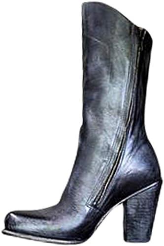 Bottes Mi-Mollet Femme Bottes en Cuir Faux Vintage Bottes Martin Fermeture /À Glissi/ère Lat/érale D/écontract/ée Bottes /À Talons Hauts