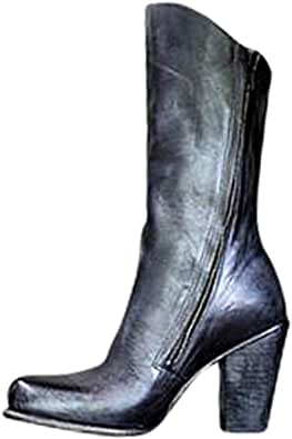 Mujer Botas Martin Retro Botas de Caballero Puntiagudo Tacón de Bloque Botas de Cuero PU Tacón Alto Botas Martin