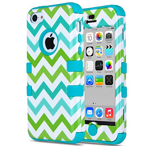 iPhone 5C Case, ULAK 3in1 Anti Slip IPhone 5C Case Hybrid with Soft Flexible Inner Silicone Skin Protective Case Cover for Apple iPhone 5C Green Wave + Blue