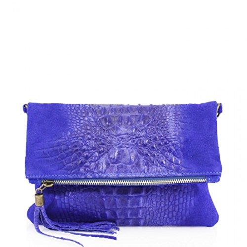 Linen Galaxy Ladies VP-SN10 Leather Snakeskin Clutch Bag Women Cross Body Shoulder Bag Prom Party Royal Blue