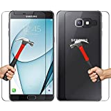 Red Qube Hammer Proof Tempered Screen Protector Front and Black Glass with Oleophobic Coating for Samsung Galaxy A9 Pro