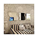 living room mirrors Alrens_DIY(TM)30x30cm/Pcs Large 3 Pcs Wave Square Acrylic Crystal Wall Sticker DIY 3D Effective Mirror Wall Decor Home Decoration Living Room Bedroom Self Adhesive Decorative Mural Decal(Silver)