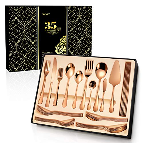 Teivio 35-Piece Silverware Set, Copper Rose Gold Flatware Set Mirror Polished, Service for 6, Include Knife/Fork/Spoon with Gift Box