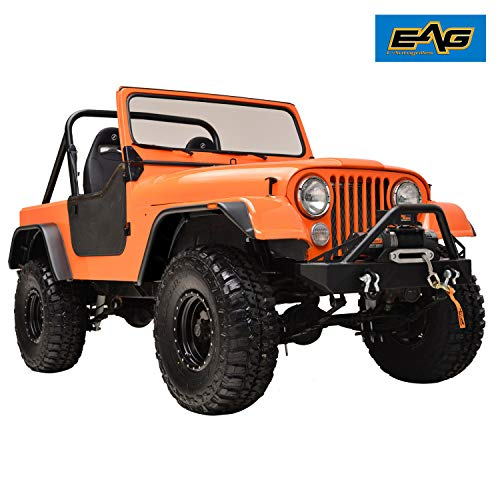 EAG Fender Wide Body Matte Black Flat Style Fit for 59-86 Jeep Wrangler CJ5 CJ6 CJ7