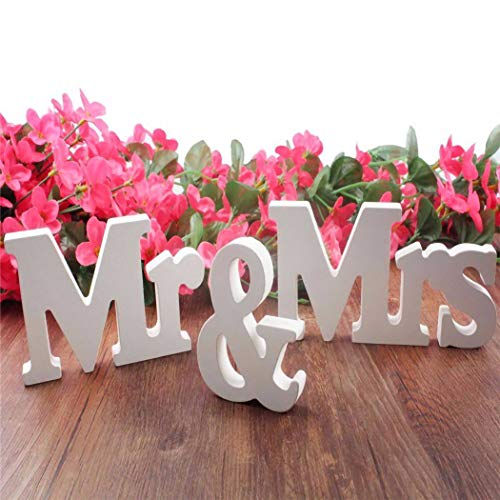 IronBuddy Mr Mrs Sign Letters 3D White Wooden Letters Decoration Wooden Mr and Mrs Letters for Party Wedding Table Decoration Photo Props - 14.2x3.15 Inch