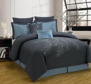 8 Piece Cal King Peoria Charcoal and Blue Comforter Set