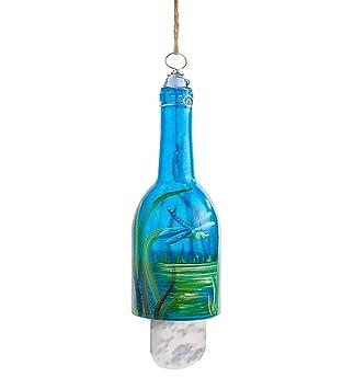 Pintado a mano Libélula reciclado botella carillón de viento
