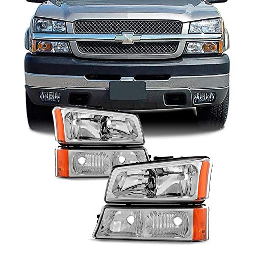 For 2003-2006 Chevy Silverado Avalanche OE Replacement Chrome Headlights Driver+Passenger Head Lamps Pair (2005 Chevy Avalanche Parts)