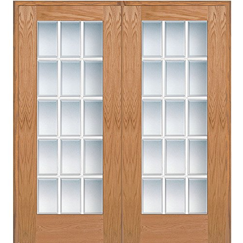 National Door Company Z020004R Unfinished Red Oak Wood 15 Lite True Divided, Beveled Clear Glass, Right Hand Prehung Interior Double Door, 72'' x 80'' by National Door Company