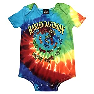 Harley-Davidson Baby Boys' Bikes Swirl Rainbow Tie-Dye Creeper 3050747 (12M)