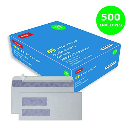 Double Window Self Seal Security Envelopes #9 For Computer Printed Quickbooks Invoices, Business Statements, Document Secure Mailing, Peel And Seal Adhesive, Tinted White Envelope, 3 7/8 x 8 7/8'', 500 by Intock