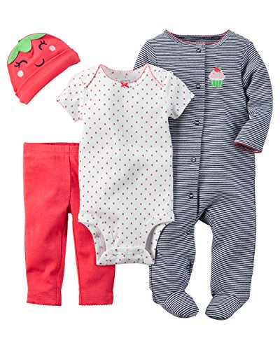 Carter's Baby Girls' 4 Piece Layette Set - Strawberry - 3 Months