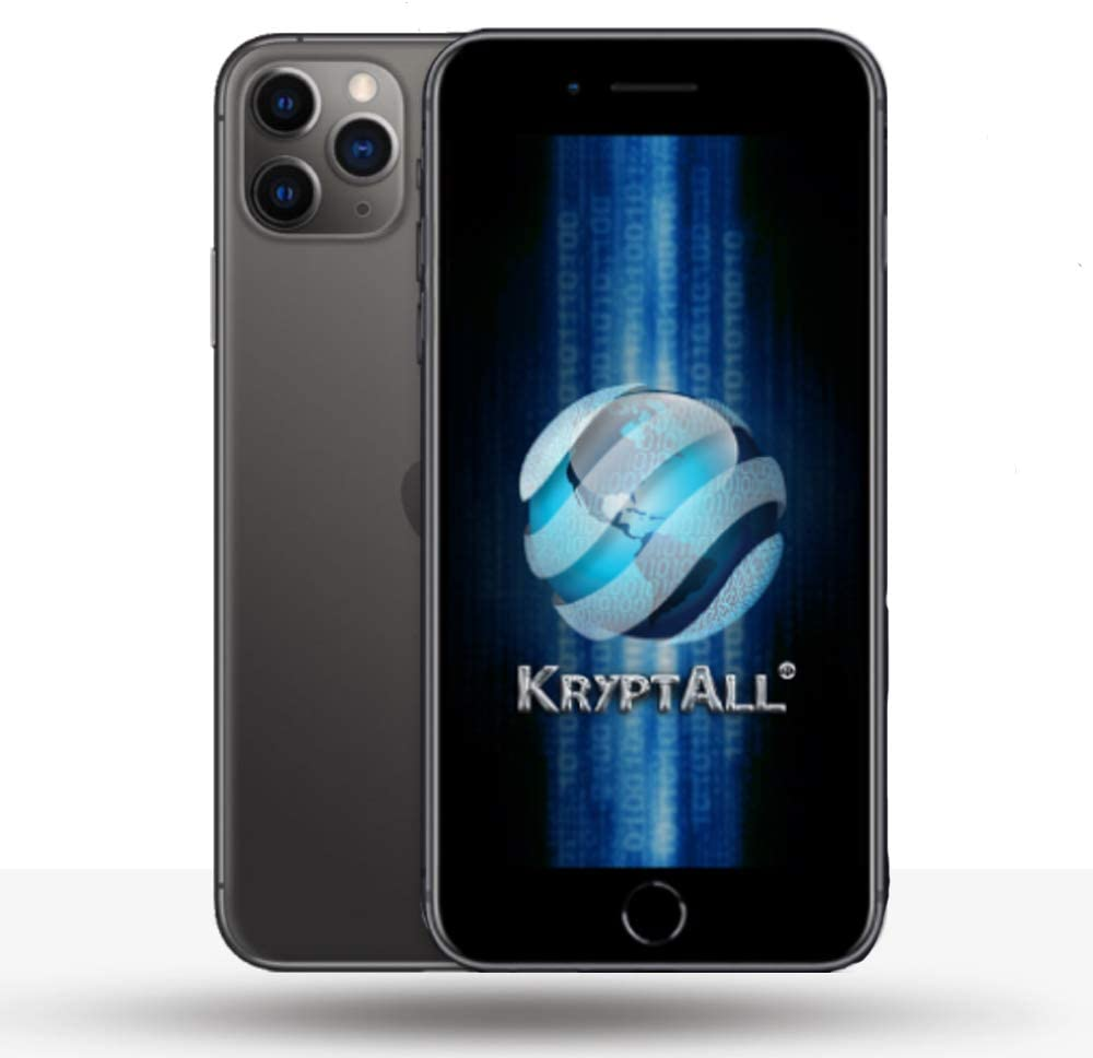 Kryptall Black 128GB Factory Unlocked Encrypted Smartphone 12 Pro Max Series, Works Worldwide, Anti-Surveillance Secure Phone