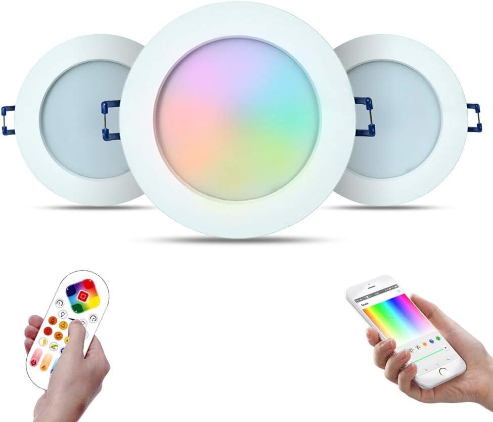 iHomma Downlight LED Empotrable en Techo Redondo,Dimmable Blanca Fría+Cálida+RGB Cambio de Color,Bluetooth APP Control+Mando a Distancia,iluminación LED Interior para Baňo/Cocina,IP44,12W,900LM,3 Pack