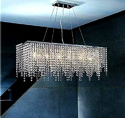 "7PM W60"" Modern Linear Rectangular Island Dining Room Crystal Chandelier Lighting Fixture Over Table"