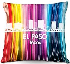 "DiaNoche Designs PilLINAngelinaVickCityIIElPasoTX1 Outdoor Patio Couch Throw Pillows, 16"" x 16"""