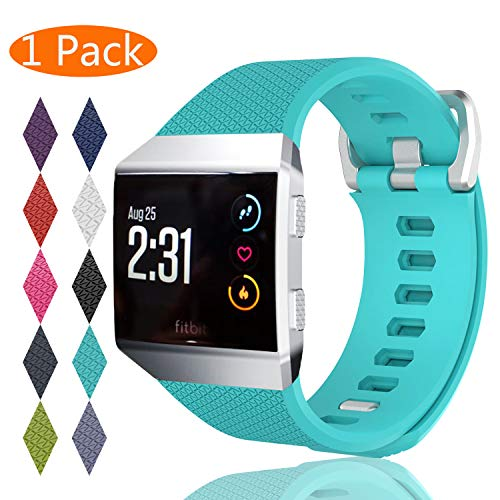 KingAcc Compatible Replacement Bands for Fitbit Ionic, Soft Silicone Fitbit Ionic Band with Metal Buckle Fitness Wristband Strap Women Men (1-Pack, Light Blue, Large)