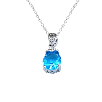 Amazon elogoog clearance womens charming water drop crystal womens charming water drop crystal necklace aquamarine diamond pendant choker necklace fashion jewelry aloadofball Image collections