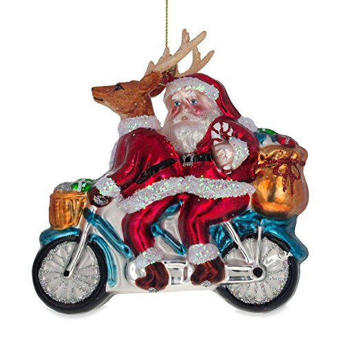 BestPysanky Santa and Reindeer Riding a Motorcycle Blown Glass Christmas Ornament 4.5 Inches