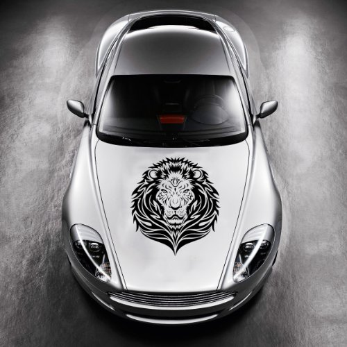 Vinyl Decals for Car Hood Animal Tribal Wild Lion Wildcat Sticker Art Any Vehicle Window Graphics Mural (4749)