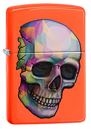 Zippo Colorful Skull Pocket Lighter, Neon Orange