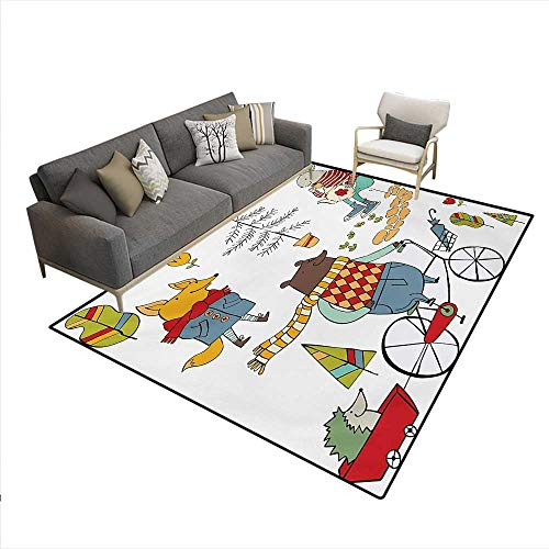 Carpet,Bear on Bicycle Fox in Raincoat Bunny a Teapot Urban Forest Characters,Rug Kid Carpet,Multicolor,6'x9'