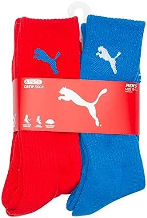Puma Men's Sport Lifestyle Terry Crew Cut Socks 10-13 Bright Red