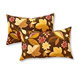 Greendale Home Fashions OC5811S2-TIMFLORAL Rectangle Indoor/Outdoor Accent Pillows, Timberland Floral, Set of 2