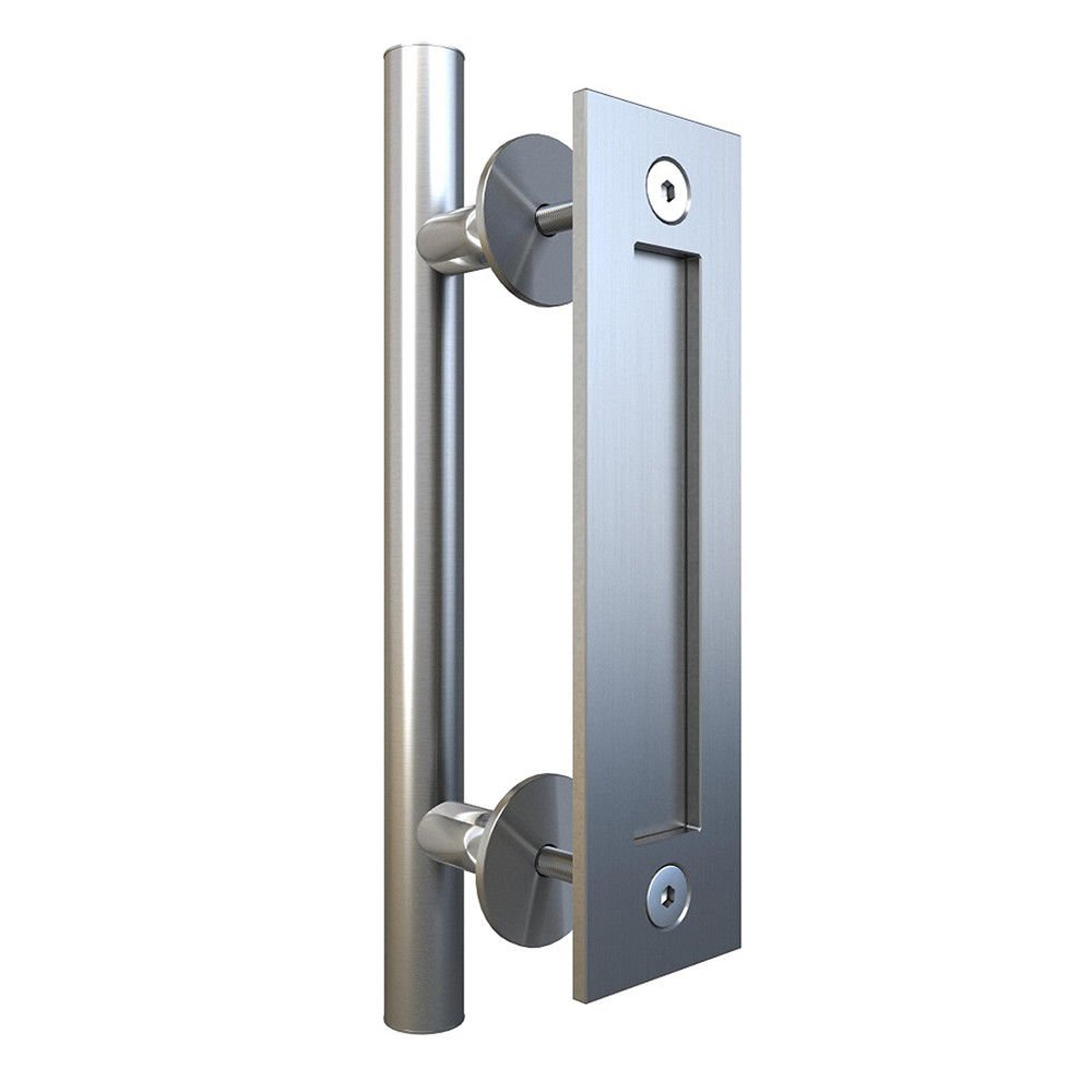 Stainless Steel Bar Pull and Flush Handle Set Hardware for Wood Door