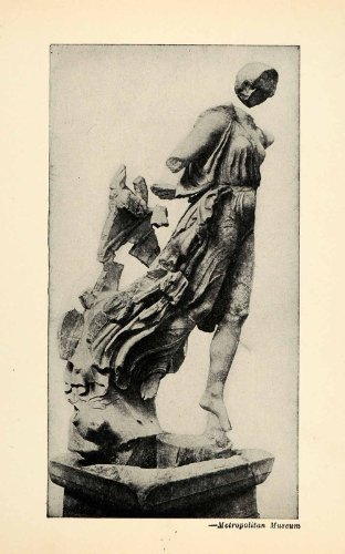 1939 Halftone Print Statue Roman Goddess Victory Olympia Mythology Victoria Wing - Original Halftone (Victory Goddess)