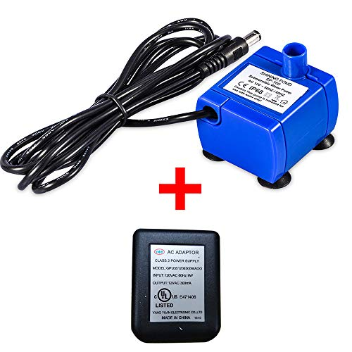 Pet Water Pump, Cat Water Fountains Pump Compatible Motor, for Pet Drinking Fountains Cat Water Dispenser Replacement with US Power Adapter (With Power ()