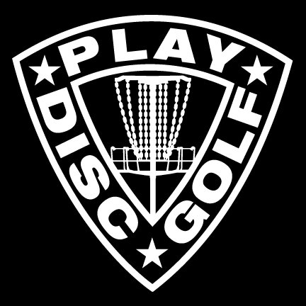 Play Disc Golf Shield Decal with Mach 3 Basket Detail - White ()